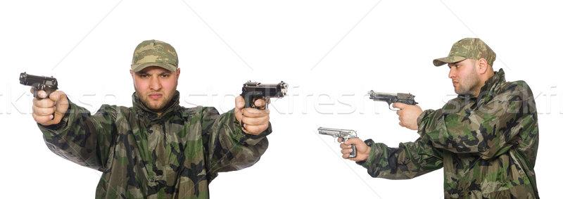 солдата пушки изолированный белый зеленый молодые Сток-фото © Elnur