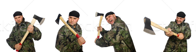 Soldier with axe isolate on white Stock photo © Elnur