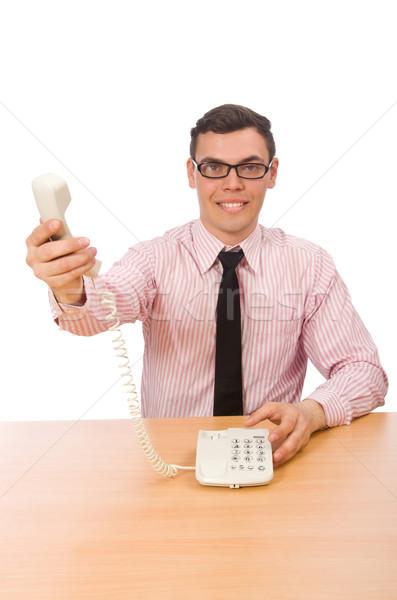 Giovani imprenditore isolato bianco ufficio telefono Foto d'archivio © Elnur