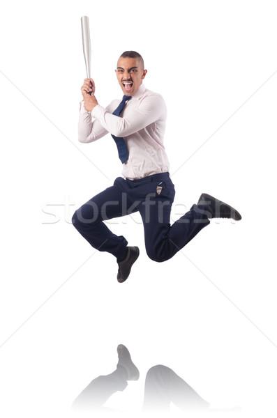 Businessman jumping with baseball bat Stock photo © Elnur