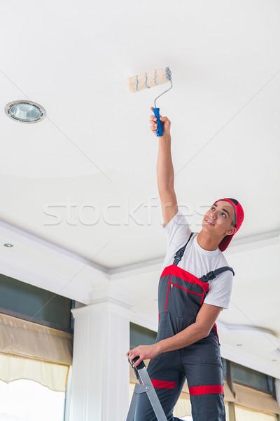 Foto d'archivio: Giovani · pittore · pittura · soffitto · costruzione · muro