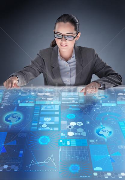 Futuristic media sharing concept with woman Stock photo © Elnur