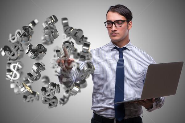 Işadamı dolar iş el dizüstü bilgisayar ekran Stok fotoğraf © Elnur