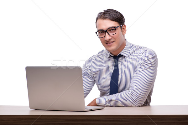 Bello imprenditore lavoro computer portatile isolato bianco Foto d'archivio © Elnur