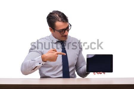 Stockfoto: Knap · zakenman · werken · geïsoleerd · witte