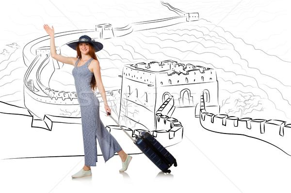 若い女性 旅行 参照してください 万里の長城 幸せ 壁 ストックフォト © Elnur