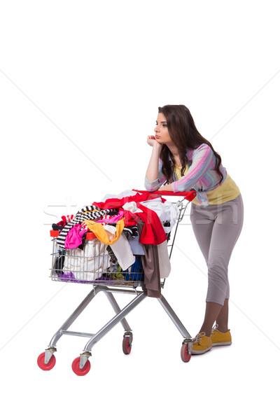 Kobieta zakupu drugi strony odzież biały Zdjęcia stock © Elnur