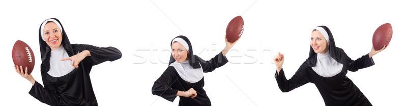 Dość zakonnica rugby ball odizolowany biały dziewczyna Zdjęcia stock © Elnur