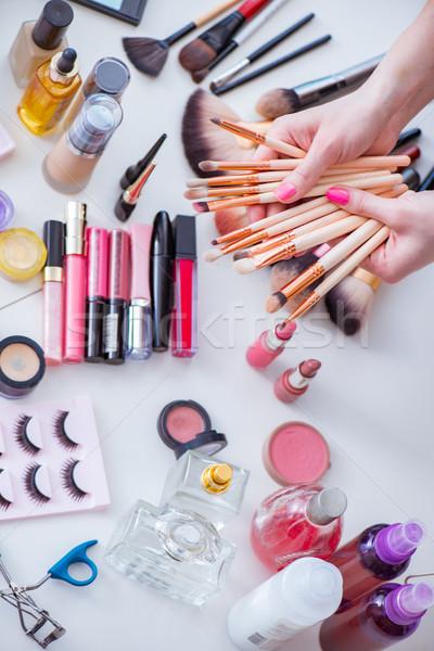 Toplama makyaj ürünleri tablo göz yüz Stok fotoğraf © Elnur