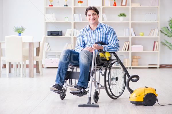 инвалидов человека очистки домой пылесос дома Сток-фото © Elnur