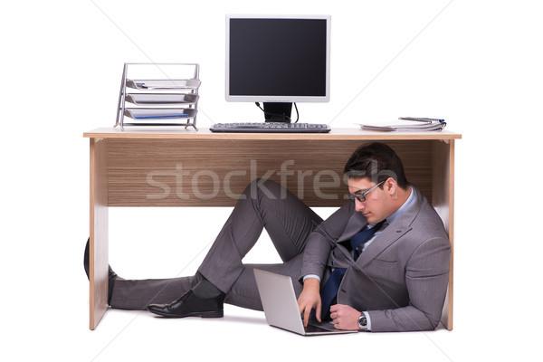 Empresário ocultação homem tabela triste trabalho Foto stock © Elnur