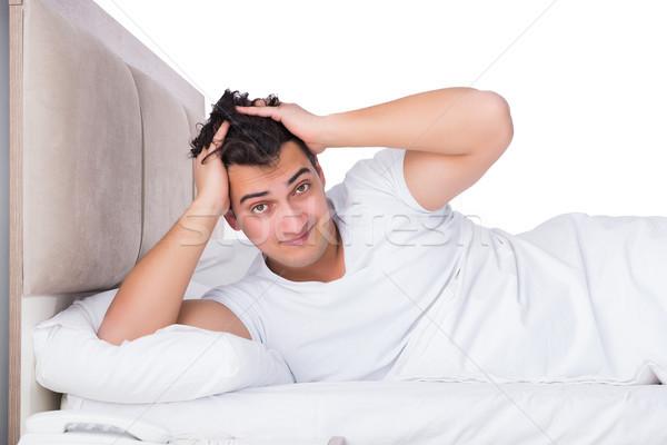 человека кровать страдание бессонница счастливым спать Сток-фото © Elnur