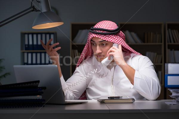 арабских бизнесмен рабочих поздно служба бизнеса Сток-фото © Elnur