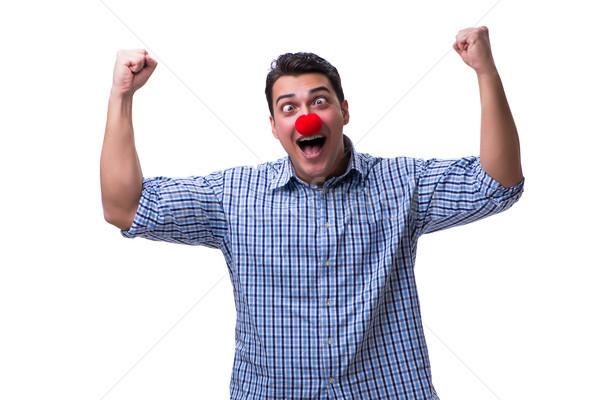 Funny człowiek clown odizolowany biały strony Zdjęcia stock © Elnur