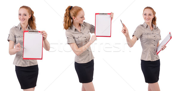 Pretty young employee with paper isolated on white Stock photo © Elnur