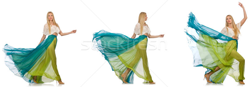 The woman in fashion concept in green dress on white Stock photo © Elnur