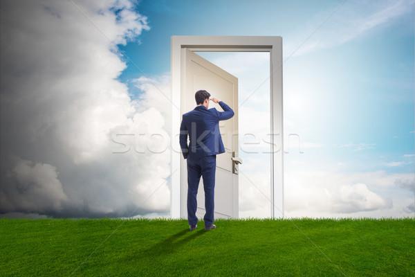 Stok fotoğraf: Işadamı · ayakta · kapı · gelecek · adam · duvar