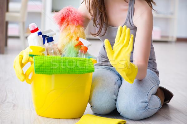 женщину очистки домой дома комнату работник Сток-фото © Elnur