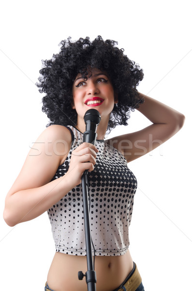 Pop star with mic  on white Stock photo © Elnur