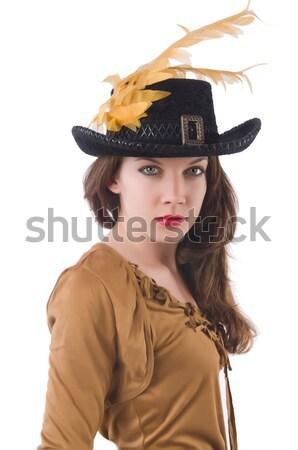 Stockfoto: Vrouw · piraat · mes · geïsoleerd · witte · partij
