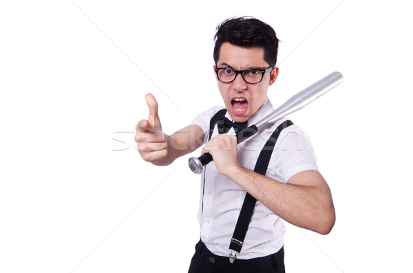 Funny man with baseball bat Stock photo © Elnur