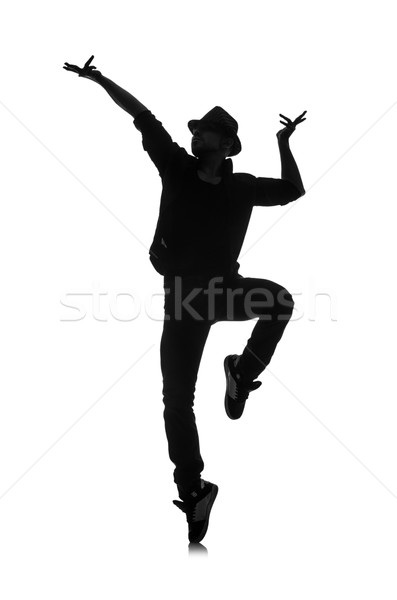 silhouette of male dancer isolated on white Stock photo © Elnur