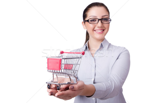 Young woman with shopping cart on white Stock photo © Elnur