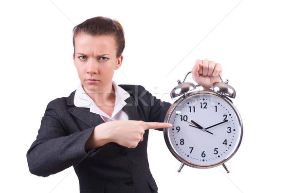 Foto stock: Mulher · gigante · relógio · branco · escritório · trabalhar