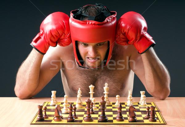 Foto stock: Boxeador · ajedrez · juego · deporte · fitness · salud