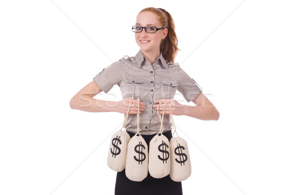 Young businesswoman with money sacks on white Stock photo © Elnur