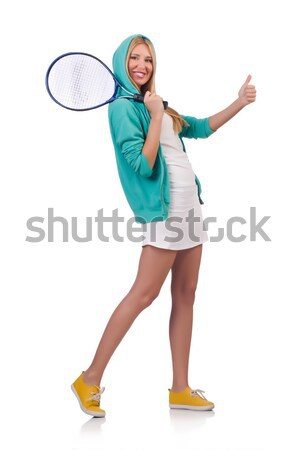 Woman exercising with swiss ball on white Stock photo © Elnur