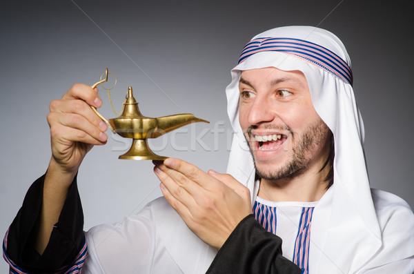 Arab lámpa stúdió üzlet mosoly boldog Stock fotó © Elnur