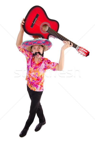 Mexikói gitáros izolált fehér buli gitár Stock fotó © Elnur