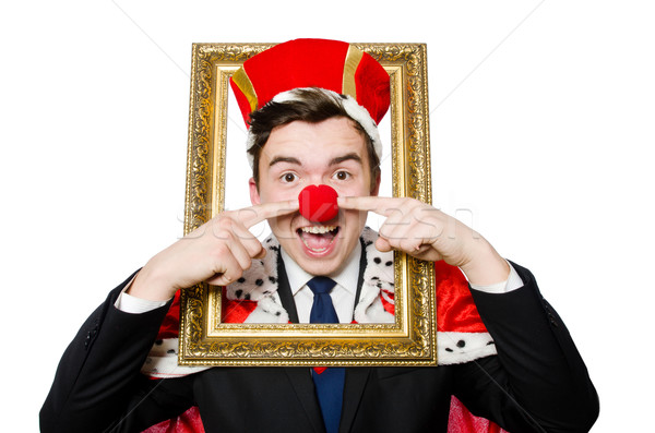 Funny businessman with clown nose Stock photo © Elnur
