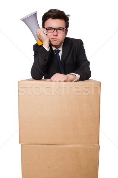 Hombre altavoz cuadro negocios oficina trabajo Foto stock © Elnur