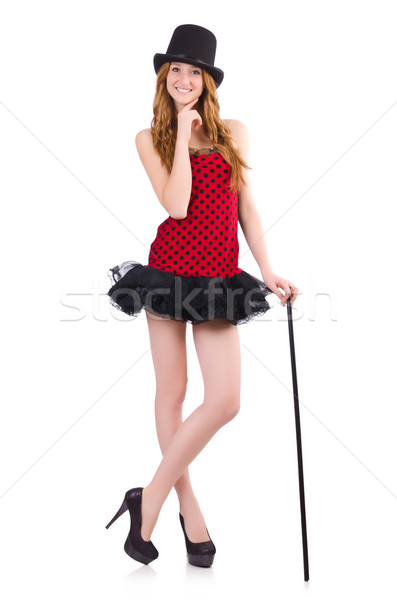 Girl in red polka-dot dress isolated on white Stock photo © Elnur