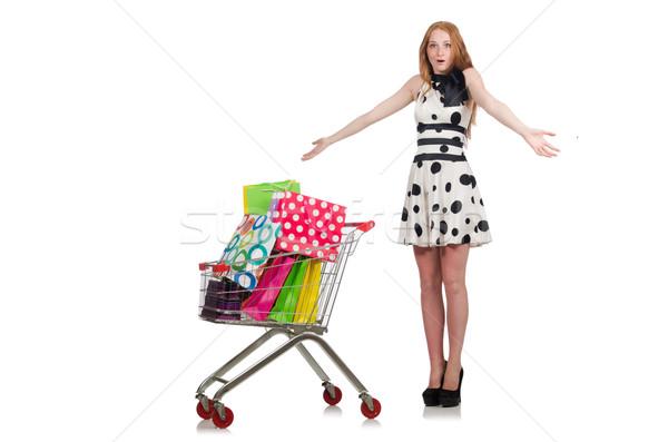 Donna shopping supermercato isolato bianco felice Foto d'archivio © Elnur