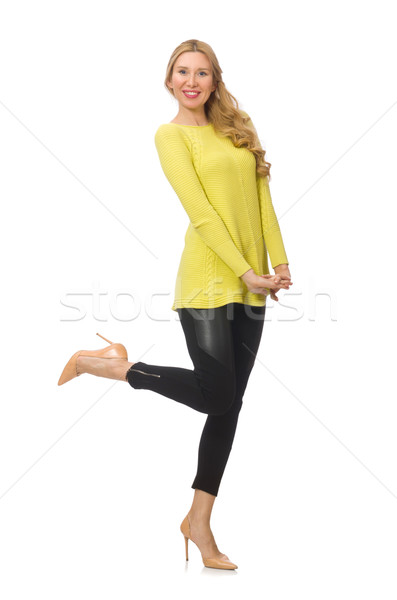 Pretty young woman in yellow blouse isolated on white Stock photo © Elnur
