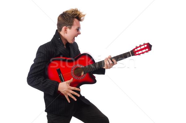 Stock fotó: Férfi · gitáros · izolált · fehér · férfi · fehér · buli