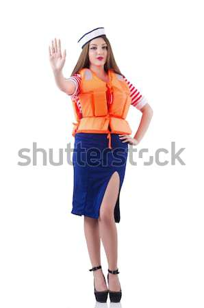 Woman with orange vest isolated on white Stock photo © Elnur