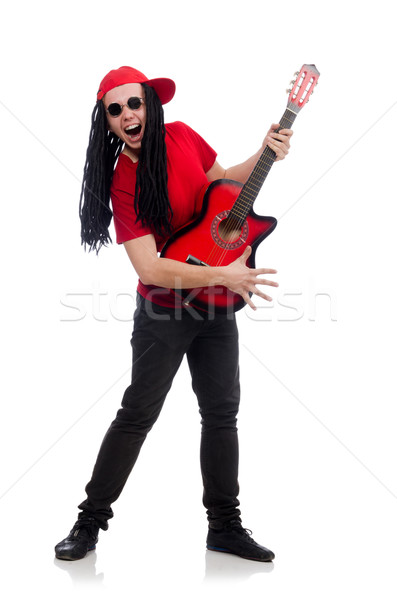 Positive boy with guitar isolated on white Stock photo © Elnur