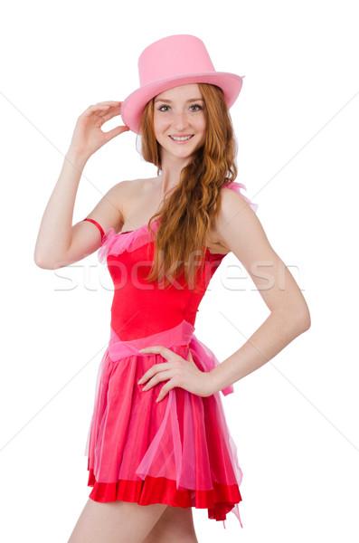 Dość młodych mini różowy sukienka odizolowany Zdjęcia stock © Elnur