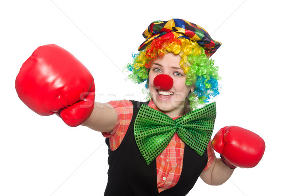 Stock photo: Female clown with box gloves  isolated on white