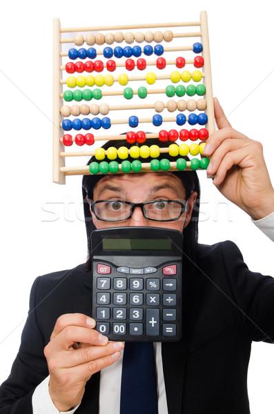 Engraçado homem calculadora ábaco negócio estudante Foto stock © Elnur