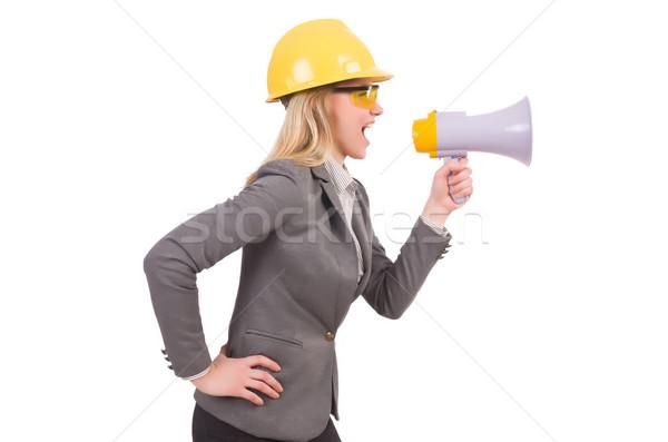 Femminile ingegnere casco altoparlante isolato bianco Foto d'archivio © Elnur