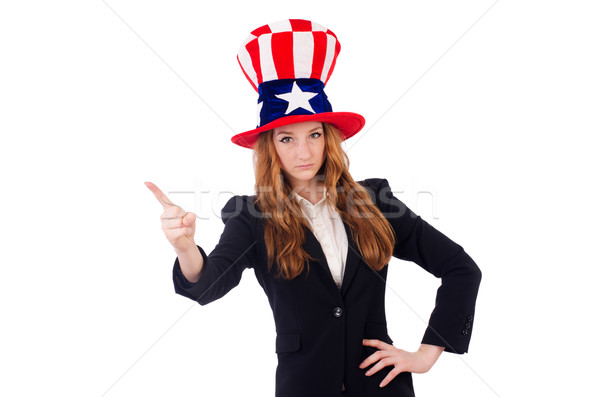 Cute girl wearing american symbol hat isolated on white Stock photo © Elnur