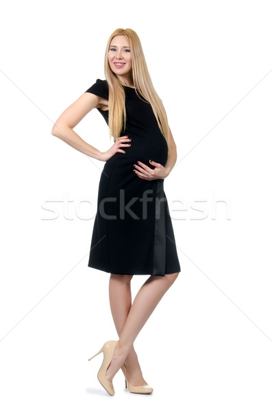 b183c0df8 Bastante · mujer · embarazada · vestido · negro · aislado · blanco ...