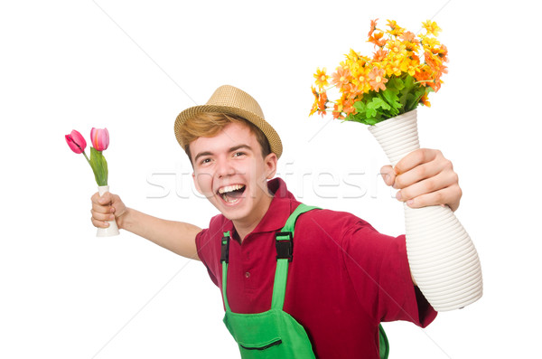 Young gardener with flower isolated on white Stock photo © Elnur