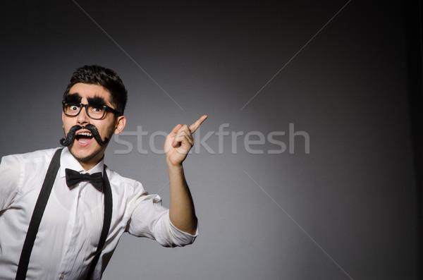 Genç kafkas adam yanlış bıyık gri Stok fotoğraf © Elnur