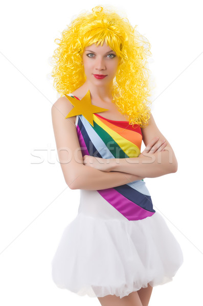 Woman with colourful wig isolated on white Stock photo © Elnur